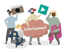 Personnes détenant des icônes de divertissement concept illustration