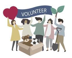 Donation and volunteering community service illustration vector