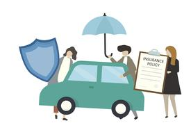 Pessoas de caráter e ícones de seguro de carro
