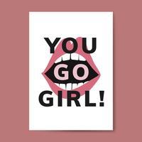Jij gaat meiden typografie vector