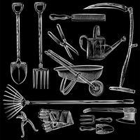 Illustration of a set of gardening tools