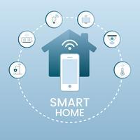 Casa inteligente controlada via vetor infográfico de telefone