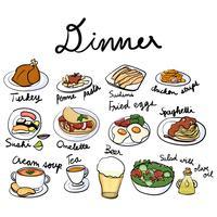 Estilo de dibujo de ilustración de colección de alimentos