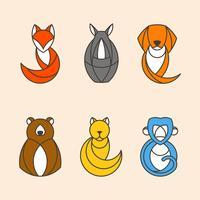 Set med färgglada djurvektorer