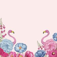Cornice floreale fenicottero rosa