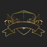 Vettore d'annata del distintivo di stile Liberty dorato
