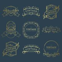 Set de badges Art nouveau doré vintage sur vecteur bleu