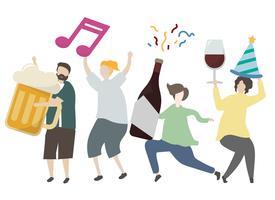 Amigos sosteniendo bebidas alcohólicas y fiesta ilustración
