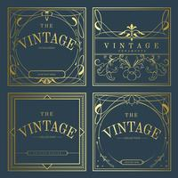 Sats med vintage gyllene art nouveau märken på blå vektor