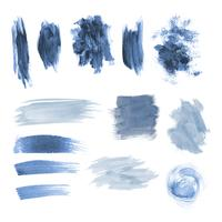 Blue grunge brushstroke design vector set