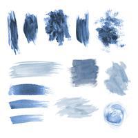 Conjunto de vectores de diseño azul pincelada grunge