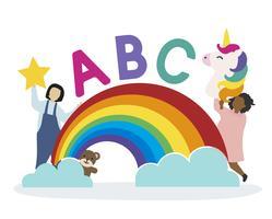 Barn med ABC-bokstäverna