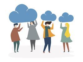 Ilustração do conceito de conexão de nuvem de avatar de pessoas