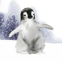 Junger Kaiserpinguin im Schneeaquarellvektor