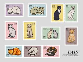 Set of stamps with cats. Elements from the public domain, modified by rawpixel. vector