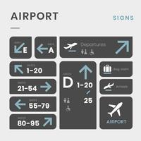 Airport signe icon set vector