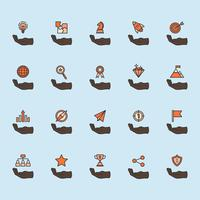 Illustration of business achievement icon set