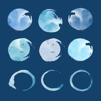 Round blue watercolor elements vector