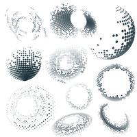 Svart halvton emblem på vit bakgrund vektor uppsättning