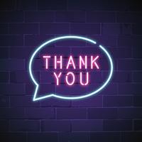 Merci vecteur de signe au néon