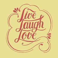 Live rire amour illustration de conception typographie