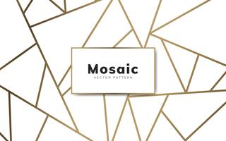 Modern mosaic wallpaper in white and gold