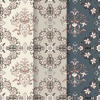 Conjunto de plano de fundo padrão vintage floreio