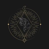 Geometrisk unicorn astrologiskt tarotkort