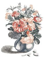 Vintage illustration of flowers in a vase