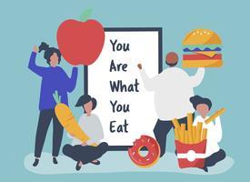 Pessoas com ilustração de ícones de comida