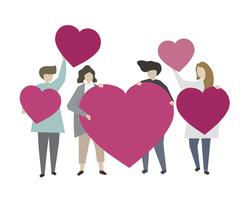 People holding hearts and showing love illustration