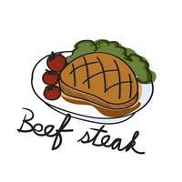Illustration ritning stil av mat