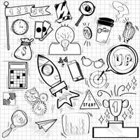 Doodles of aspiration och prestationssymboler