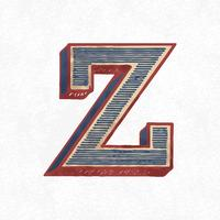 Capital letter Z vintage typography style