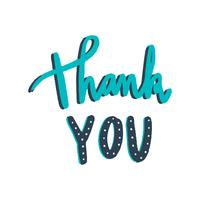 Thank you typography vector in green