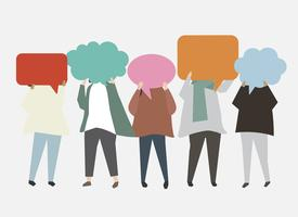 People with speech bubbles illustration