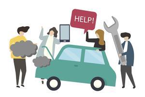 Car repair service concept illustration