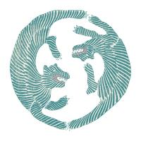Weinlese-Illustration der japanischen Tiger