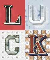 Luck word vintage typography style