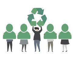 Människor med grön återvinna ikon illustration