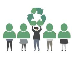 People with green recycle icon illustration