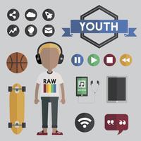 Ilustración de personaje de avatar de hombre joven