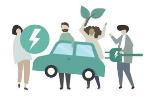 Character people and eco-car icons
