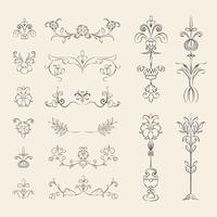 Vintage Flourish Ornament Abbildung Set