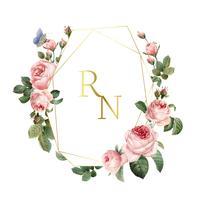 Bröllop inbjudningskort dekorerad med rosor vektor