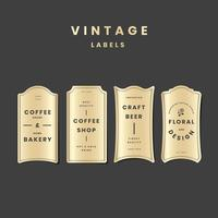 Vintage golden logo set