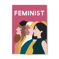 Femenina feminista de pie juntos vector
