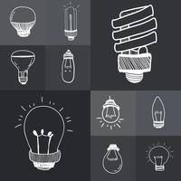 Vector of a set of lightbulbs