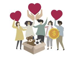 Spende und freiwillige gemeinnützige Abbildung
