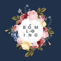 Blommande blommig ram kort illustration